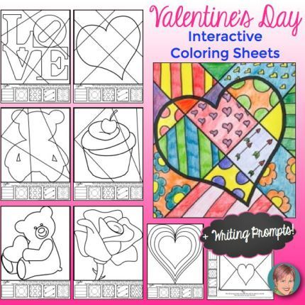 Valentine's Day Pop Art coloring sheets