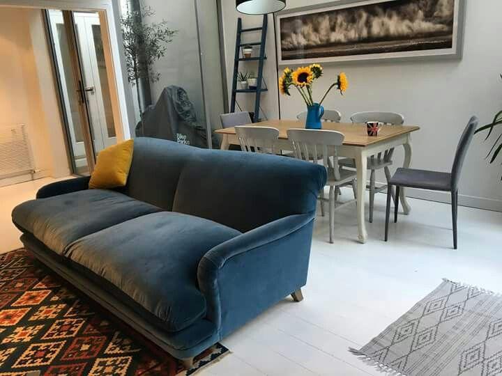 Loaf pudding sofa brighton blue velvet