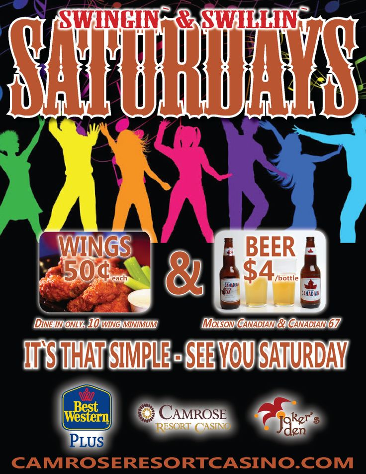 Starting this Saturday - Swingin' & Swillin' Saturdays! Specials for Molson Canadian, Canadian 67 and chicken wings.