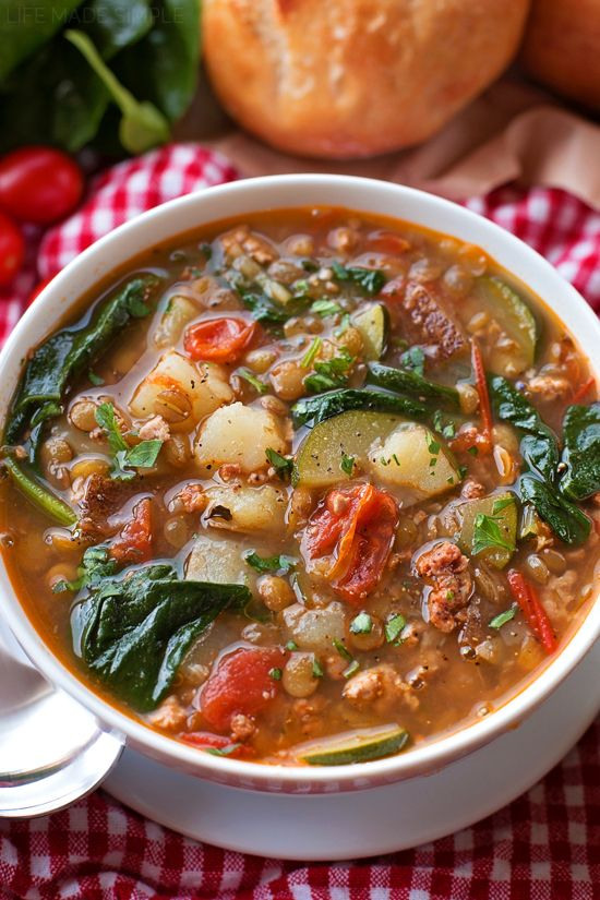 March 2016--Tuscan Lentil Soup | lifemadesimplebakes.com Amazing!! Best soup I have made! Swapped bell peppers for tomatoes
