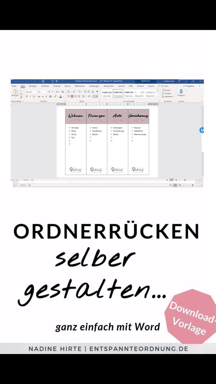 Folder back Word [kostenlose Vorlage zum Download]