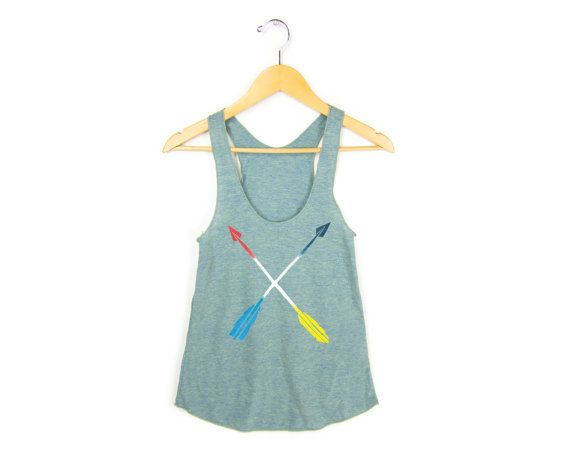 Painted Arrows  Racerback Hand Stenciled Slouchy by twostringjane, $27.00
