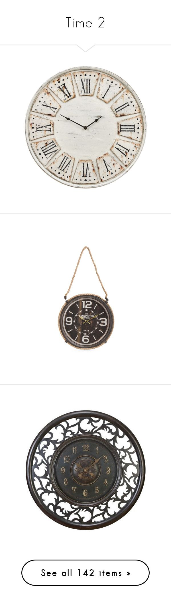 """""""Time 2"""" by mysfytdesigns ❤ liked on Polyvore featuring home, home decor, clocks, battery operated clocks, battery clock, battery powered clock, dark antique brown, wall clocks, wooden wall clock and brown wall clock"""
