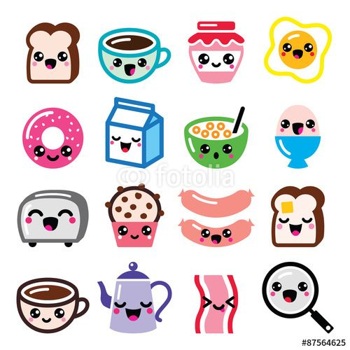 Vector: Kawaii breakfast food and beverages, cute vector icons set - toast, eggs, bacon, coffee