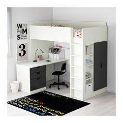 IKEA - STUVA, Hochbettkomb. 3 Schubl./2 Türen, weiß/schwarz, , Dieses Hochbett wird zur Komplettlösung fürs Kinderzimmer - mit Schreibtisch, Regal und Kleiderschrank.Der Schreibtisch kann parallel oder rechtwinklig zum Bett angebracht werden. Ergänzt mit 2 ADILS Beinen kann er frei stehen.Steht der Schreibtisch rechtwinklig zum Bett, ist der Kleiderschrank von zwei Seiten zugänglich.Zur Minderung der Rutschgefahr sind die Leitersprossen gefast.Dank Kabelöffnung in der Schreibtischplatte…