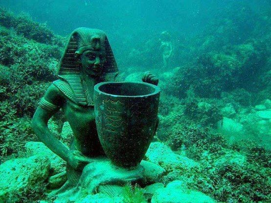 Alexandria underwater city. Lost for 1,600 years, the royal quarters of Cleopatra were discovered off the shores of Alexandria. A team of marine archaeologists, led by Frenchman, Franck Goddio, began excavating the ancient city in 1998. Historians believe the site was submerged by earthquakes and tidal waves, yet, astonishingly, several artifacts remained largely intact.