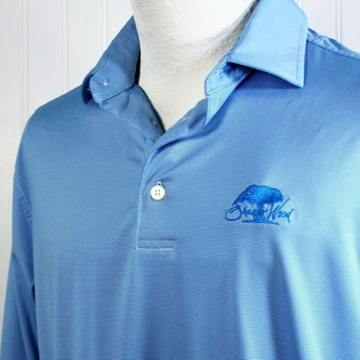 FootJoy FJ Shadow Wood Golf Club Embroidered Polo Shirt Blue Micro Stripe Mens M #FootJoy #PoloRugby