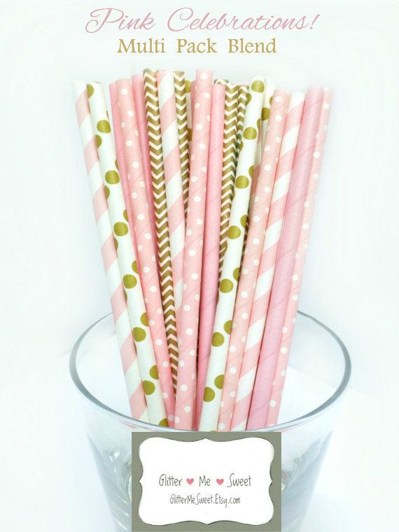 Pink and Gold Party Decor - Pink Paper Straws - Pink and Gold Baby Shower - Bridal Shower Decor - Dessert Table Decoration - Wedding Shower