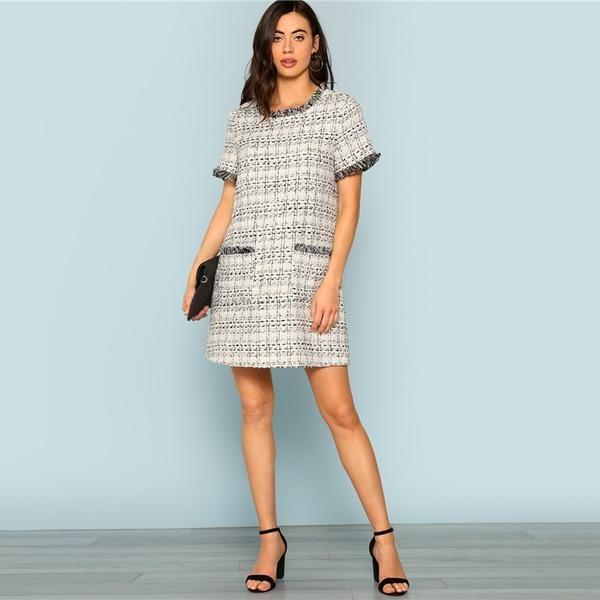 642bd3c60b04b Elaine Elegant Tweed Mini Dress. #dress #mini #maxi #midi #stylish