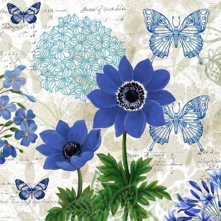 Flowers and butterflys - Blue 2 - Elena Vladykina