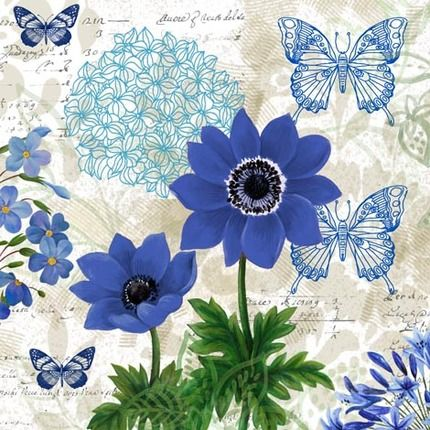 Flowers and butterflys - Blue 2 - Elena Vladykina