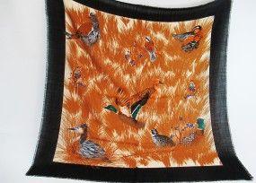 Trachtentuch schwarz - beige mit Enten
