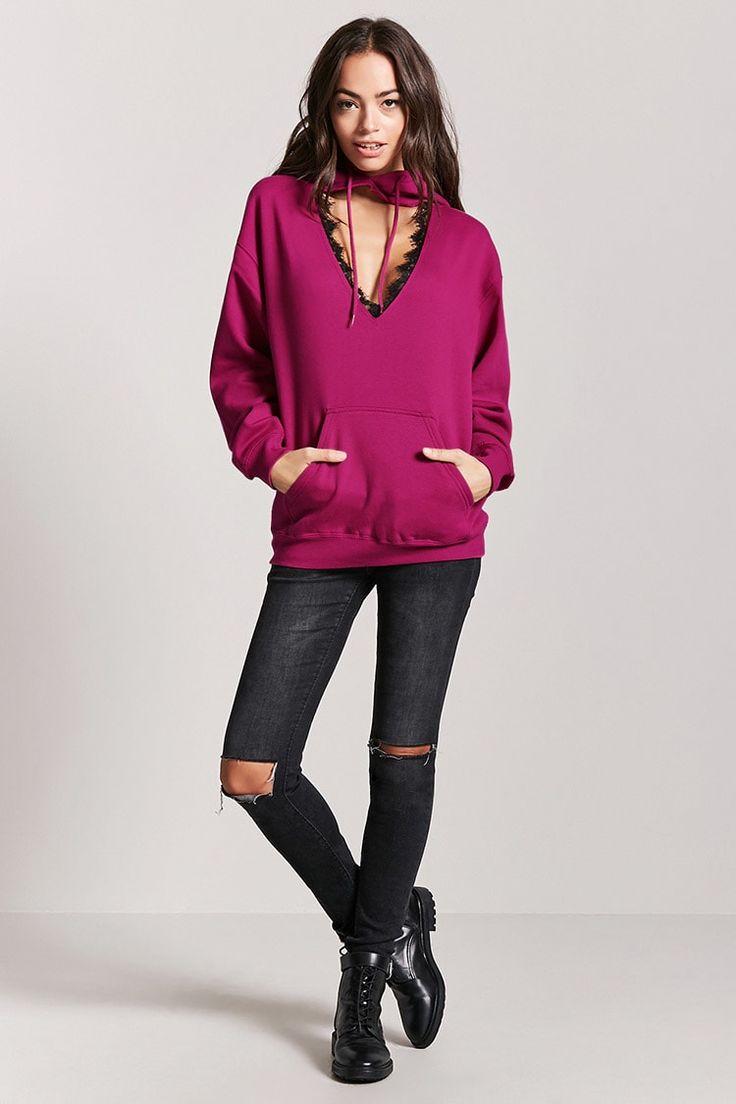 Cutout Lace-Trim Fleece Hoodie