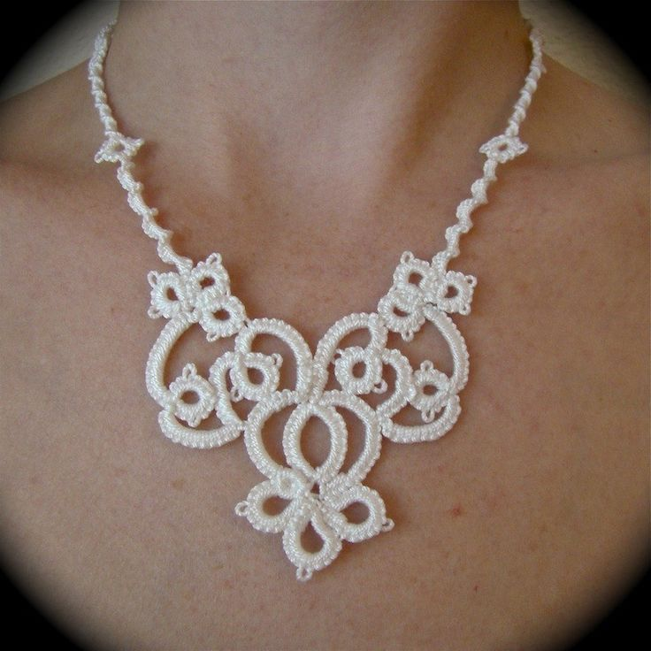 Tatted Lace Necklace The Bride's Garden - em: etsy.com