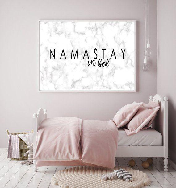 Namastay In Bed Print Namaste Marble Print Bedroom Decor Namastay Marble Printable Yoga Decor Marble Wall Art Above The Art Bedroom Decor Yoga Decor Bed