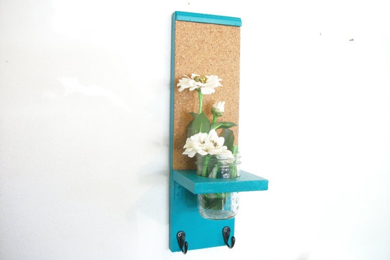 Wood Kitchen Hall  Shelf Cork Bulletin Board Center by ACOUNTRYWAY, $30.00