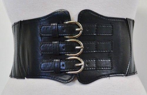 New-3-Buckle-Fx-Leather-Wide-Cinch-Gothic-Corset-Stretch-Waist-Belt-Black-S-M-L