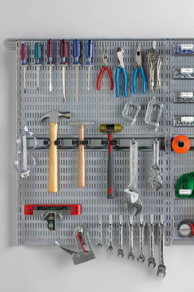Use a pegboard to hang all your small items.