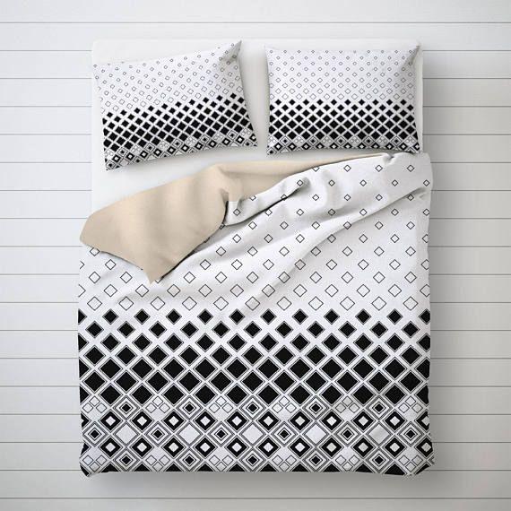 Geometric Art Bedding Set Unique Duvet Cover White Duvet