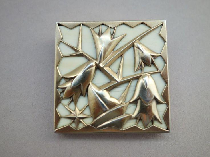 Seltene Jugendstil Art Nouveau Brosche Brooch Wien? Silver Bone Silber GJ