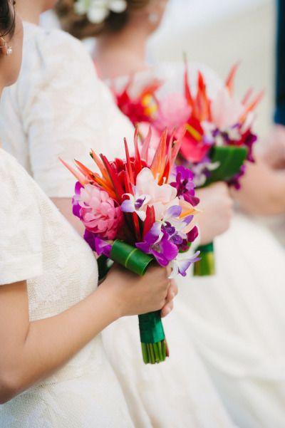 Tropical bouquets: http://www.stylemepretty.com/australia-weddings/queensland-au/2015/04/14/modern-tropical-queensland-wedding/ | Photography: Sass Studios - http://www.sassstudios.com/