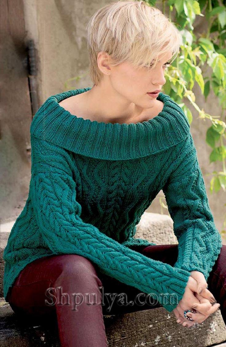 Зеленый пуловер из кос и зигзагов, вязаный спицами