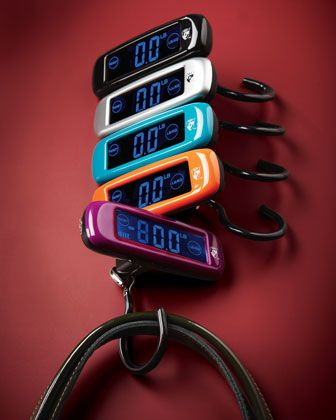 Traveling?  keep track of your luggage weight with this luggage scale...cool idea for the traveler!!!Touch-Screen Digital Luggage Scale by Heys at Neiman Marcus.