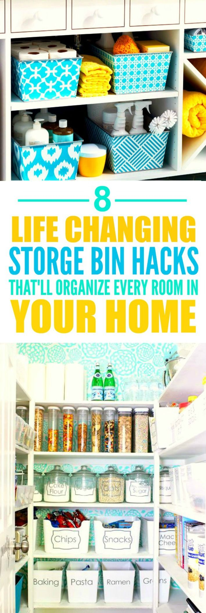 These 8 life changing storage bin hacks are THE BEST! I'm so glad I found these AWESOME tips! Now I have some good ideas on how to organize my rooms! Definitely repinning for later!
