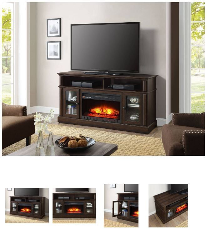 60 Inch TV Stand With Fireplace Media Console Electric Entertainment Center SALE #Whalen