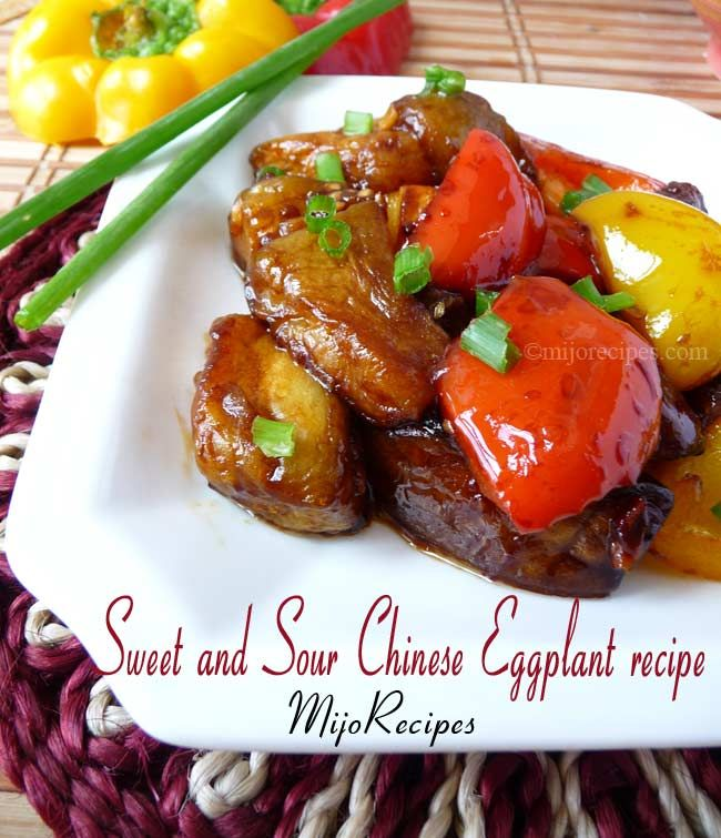 Sweet and Sour Eggplant with Bell Peppers