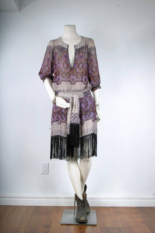 Vintage Hippie Bohemian gypsy tassle paisley dress women size XS S M