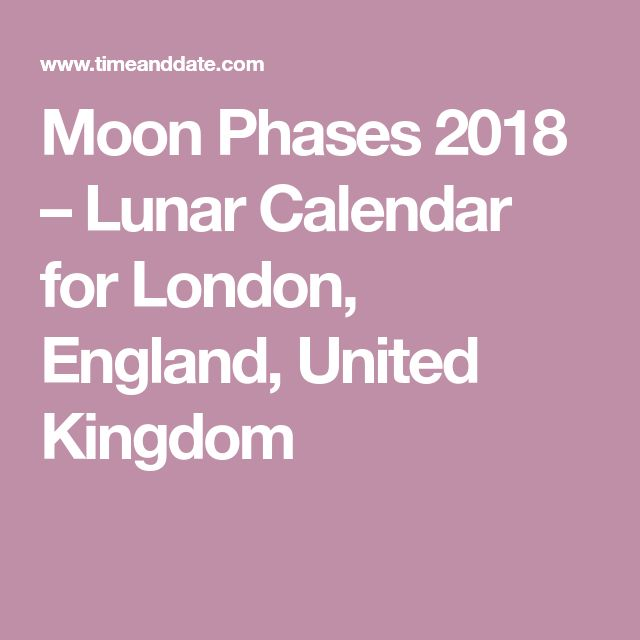 Moon Phases 2018 – Lunar Calendar for London, England, United Kingdom