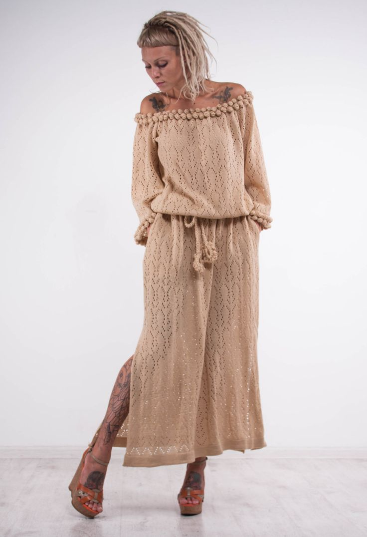 Crochet beige dress KNIT maxi lace Dress off shoulder beige dress Crochet…