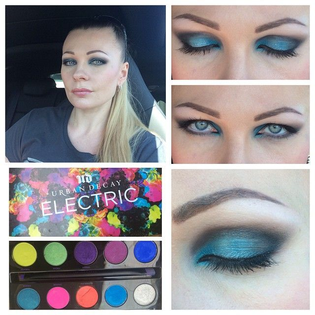 """С пятницей всех! Мой пятничный макияж! Ох, как нравится мне голубой пигмент из палетки Urban Decay """"Electric""""! #urbandecay #makeup #макияж #макияж_для_себя"""