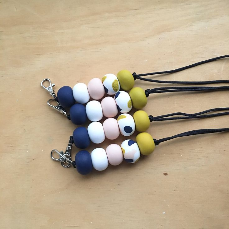 Polymer clay bead beaded lanyard, long keychain keyring. 'The Pagan' mustard, nude, navy, white with texture by RafHop on Etsy https://www.etsy.com/au/listing/533534144/polymer-clay-bead-beaded-lanyard-long