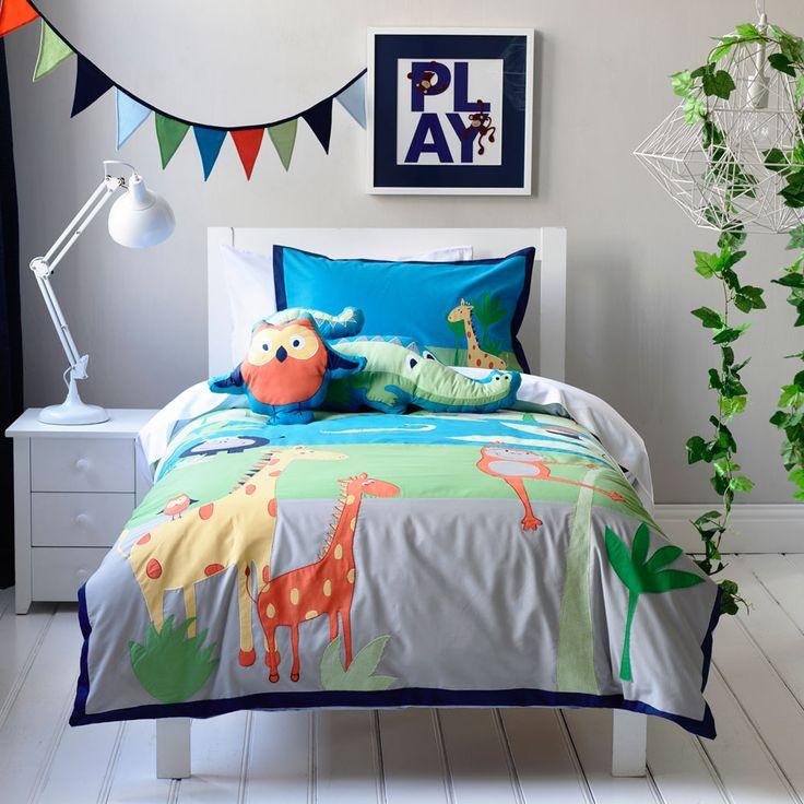 Adairs Kids Boys Jungle Safari Bedroom Quilt Covers