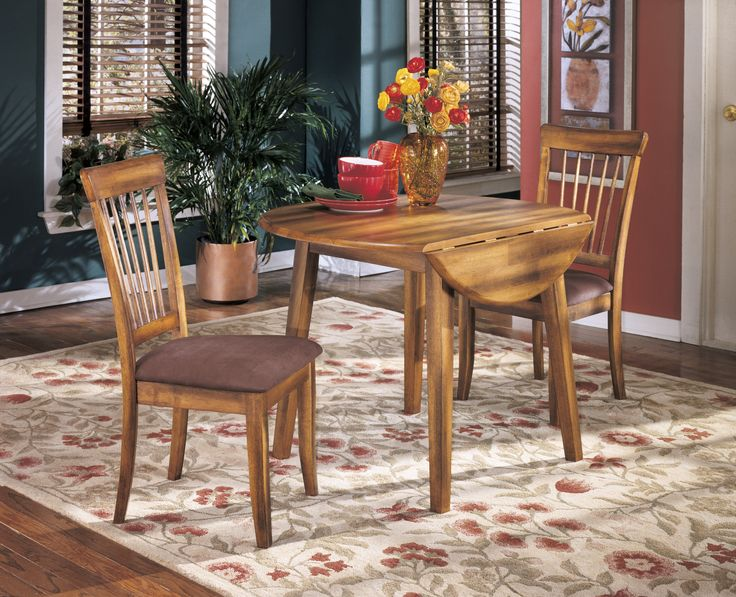 The Berringer Drop Leaf Table 2 Chairs Round Dining