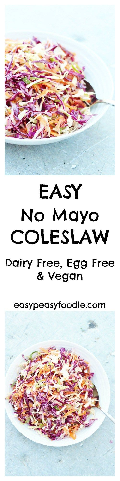 A lighter, fresher coleslaw…that tastes much better than the kind that's dripping with cream and mayonnaise AND is easy peasy to make, my Easy No Mayo Coleslaw is perfect for picnics, BBQs and potlucks…and even amazing on top of a baked potato! Plus this