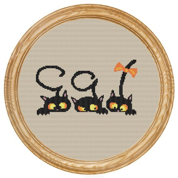 Cross Stitch Pattern PDF cats DD0026 от HappyStitches4You на Etsy, $5.00