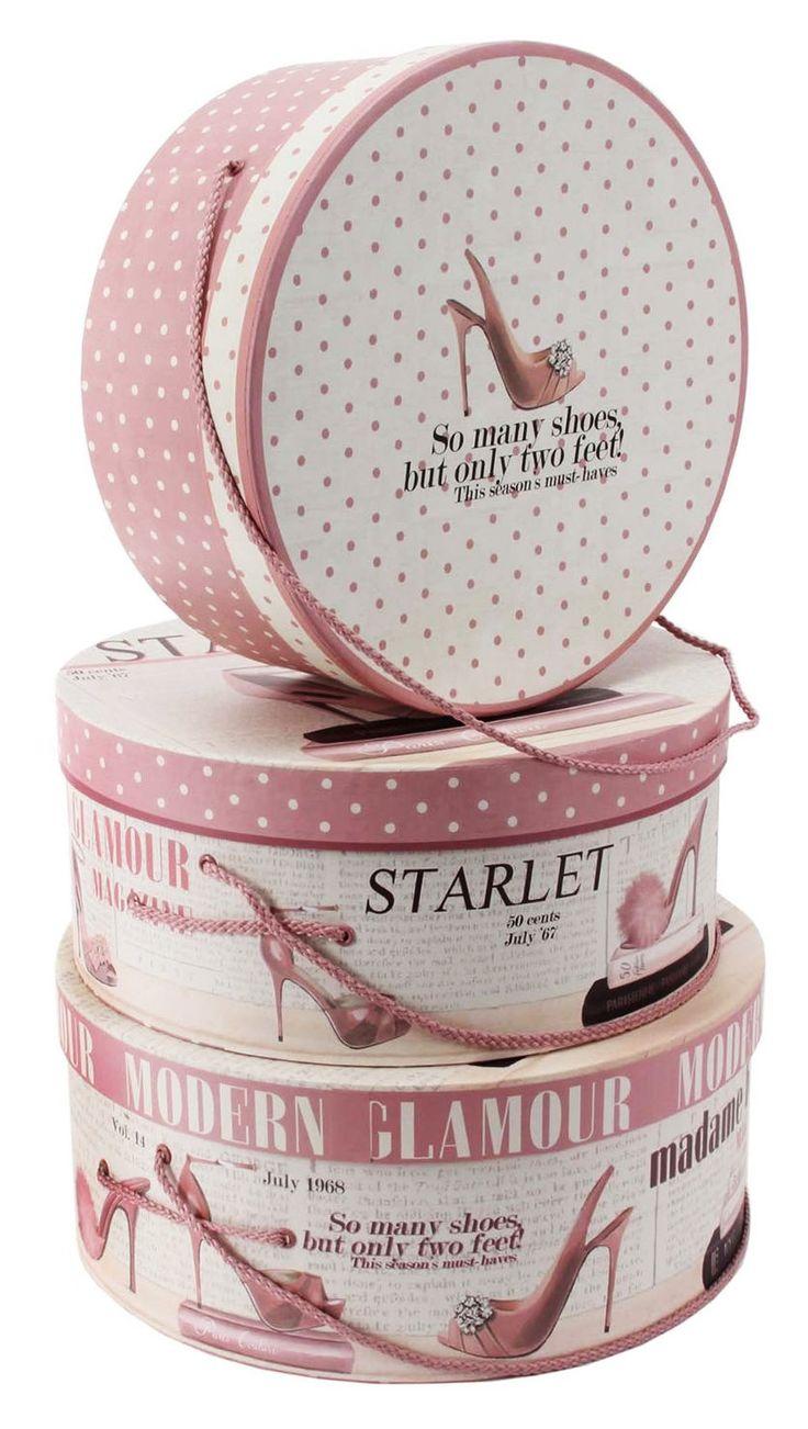 Set Of 3 Pink Ladies Fashion Magazine Round Hat Boxes Storage Box Set Decor Gift | eBay