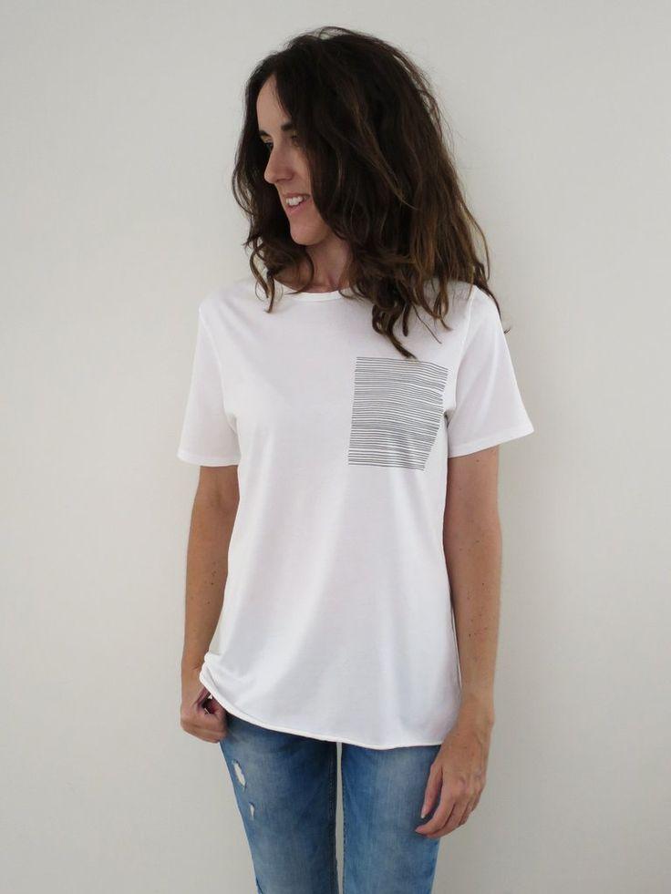 Raw Luxury Women's Stripe tee - white. www.rawluxury.com.au