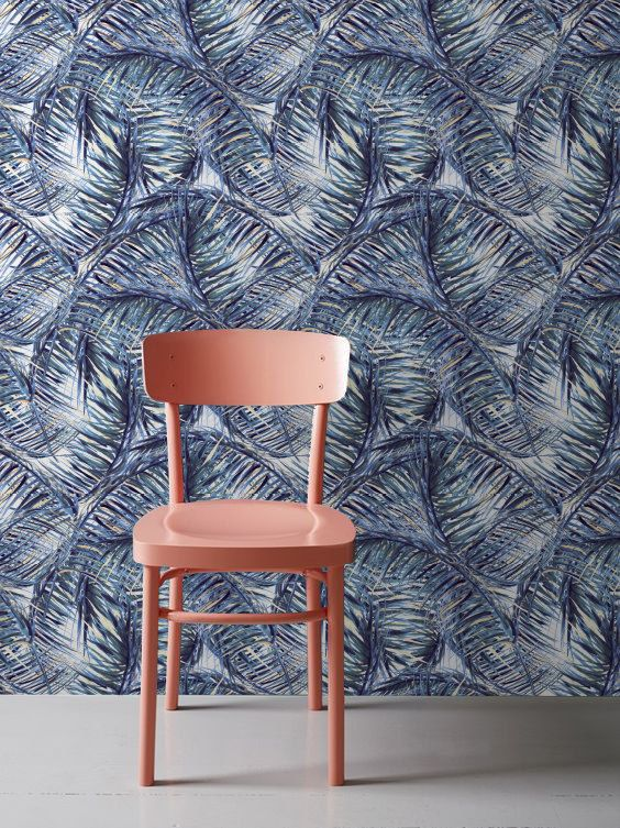 Tropical Leaves Wall Mural, Removable Wallpaper, Blue Leaves Wallpaper, Wall Decal, Tropical Wallpaper, 268