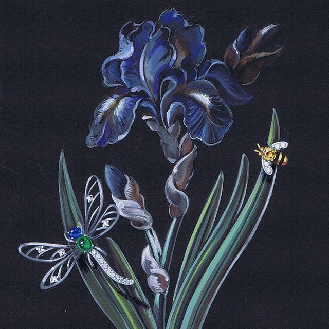 """#Blue iris and jeweled bugs"""" Acrylic on paper, available at Dolce in Telluride! #remyrotenier  #jewellery #jewelrygram #jewelry #rendering #dolcejewels  #dolcetelluride"""