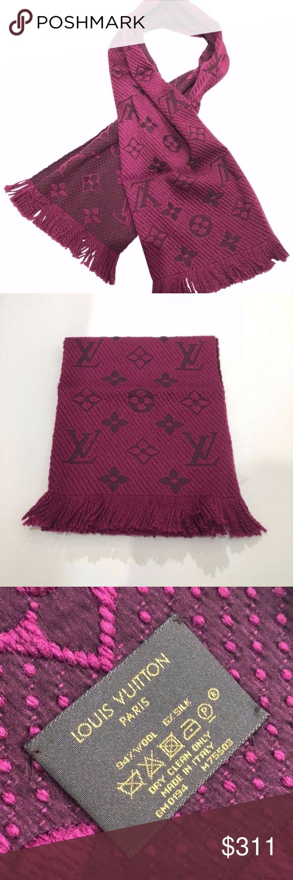 """Louis Vuitton Logomania Purple Wool Scarf Louis Vuitton Logomania Purple Wool Scarf Used a few times.  Pristine condition. Absolutely no signs of wear or smells.  Made in Italy.  Color: purple Brand: Louis Vuitton Measurements: 64""""L x 0.02""""H x 12""""W Louis Vuitton Accessories Scarves & Wraps"""
