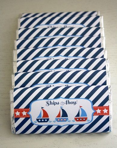 Ships / Nautical - Chocolate Bar Wrappers / Candy Bar Wrapper / Personalised Chocolate Bar.  Make your own - by Sweet & Snazzy.  Feel free to visit us at www.facebook.com/sweetandsnazzy