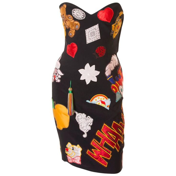 Documented Franco Moschino S/S 1988 Patch Dress | From a collection of rare vintage evening dresses and gowns at https://www.1stdibs.com/fashion/clothing/evening-dresses/