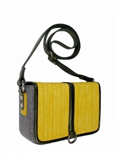 Elegant box-coffer on his shoulder. The bag is in the color gray with a yellow flap finished with green piping. From the inside it is decorated with quilted satin silver lining. Belt is adjustable. Each original handbag GOSHICO id is in the middle of the tab with our logo. PRICE:192.81 €  http://goshico.com/en/torebka-boxy-1368.html