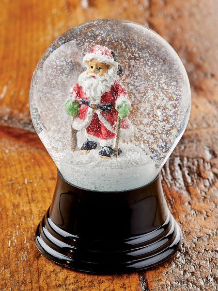 Santa on skis snow globe. Made in Austria, a country known for high-quality snow globes!