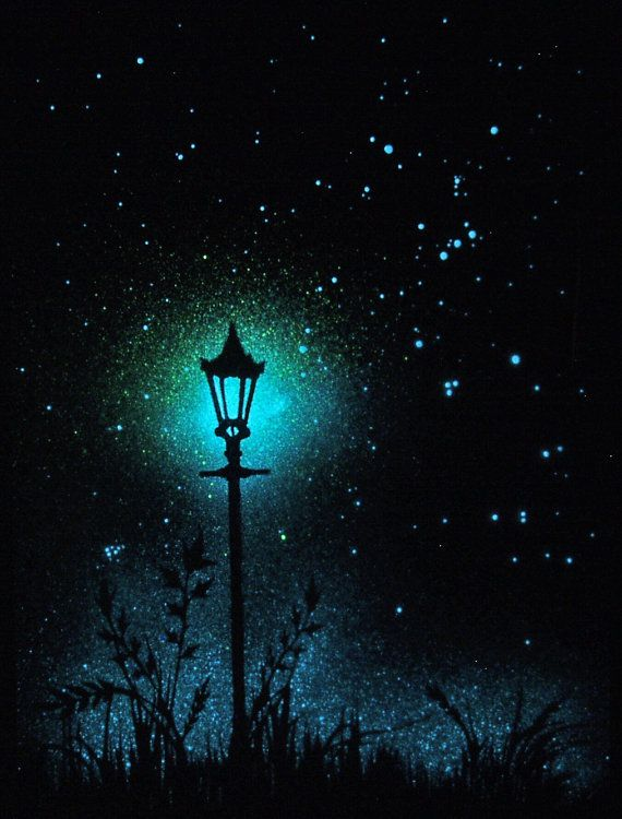 Glow in the Dark Star Poster - The lamp post and the starry night - Orion - Astronomically Accurate - Glow in the dark art