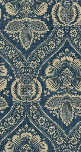Artissimo Navy fabric by P Kaufmann - blue & ecru damask print on  100% cotton heavy basket weave canvas. $28.95 per yard